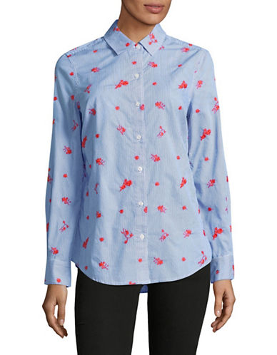 Lord & Taylor Petite Sadie Embroidered Stripe Cotton Button-Down Shirt-BLUE-Petite Medium