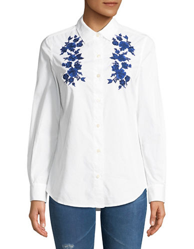 Lord & Taylor Petite Sadie Button Down Embroidered Top-WHITE-Petite Medium