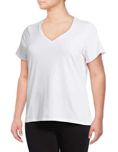 Lord & Taylor Plus Plus Short Sleeve V-Neck Tee-WHITE-2X