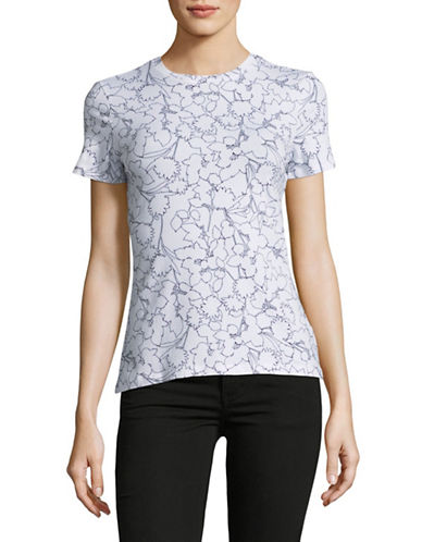 Lord & Taylor Floral Crew Neck Short-Sleeve Tee-WHITE-Small