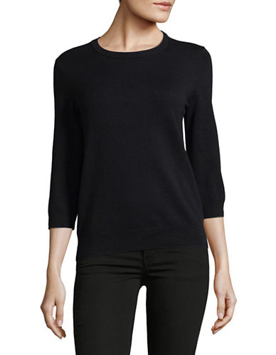 Lord & Taylor Three-Quarter Sleeve Sweater-BLACK-X-Small
