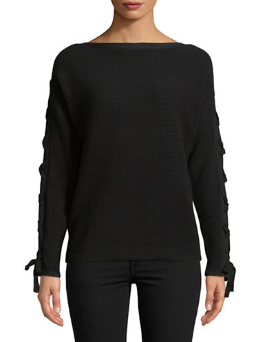 Lord & Taylor Lace-Up Dolman-Sleeve Cotton Pullover-BLACK-Small