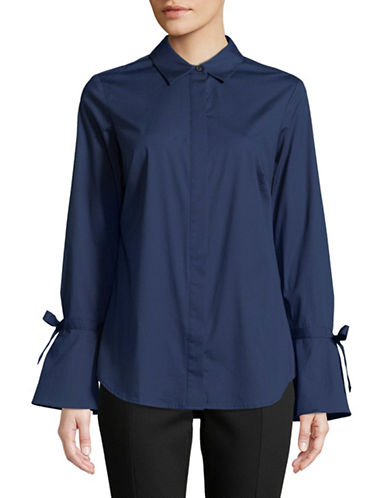 Lord & Taylor Petite Kinsley Bell-Sleeve Button-Down Shirt-NAVY-Petite Large