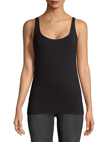 Lord & Taylor Petite Iconic Fit Tank-BLACK-Petite Medium