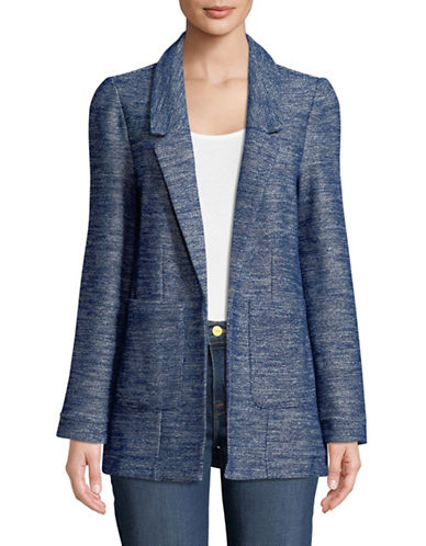 Lord & Taylor Textured Boyfriend Blazer-BLUE-X-Large