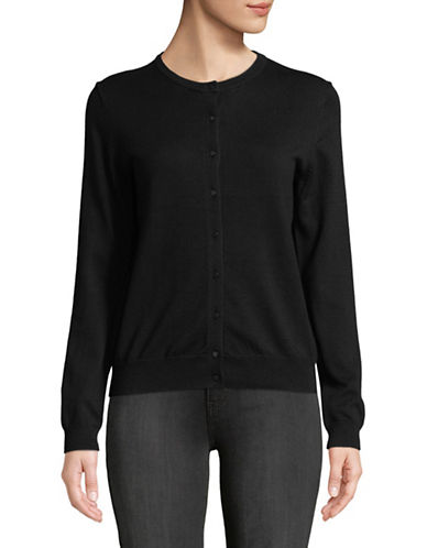 Lord & Taylor Long-Sleeve Crew Neck Cardigan-BLACK-X-Large