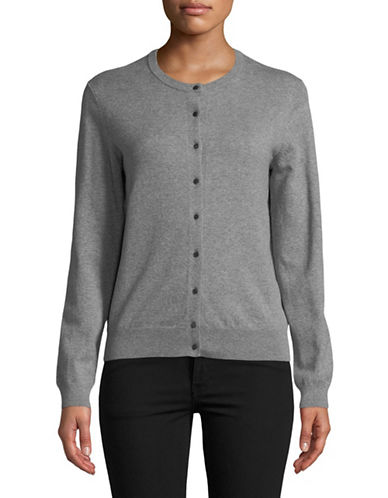 Lord & Taylor Long-Sleeve Crew Neck Cardigan-GREY-X-Large