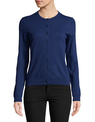Lord & Taylor Long-Sleeve Crew Neck Cardigan-NAVY-Small