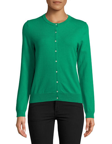 Lord & Taylor Long-Sleeve Crew Neck Cardigan-GREEN-Large