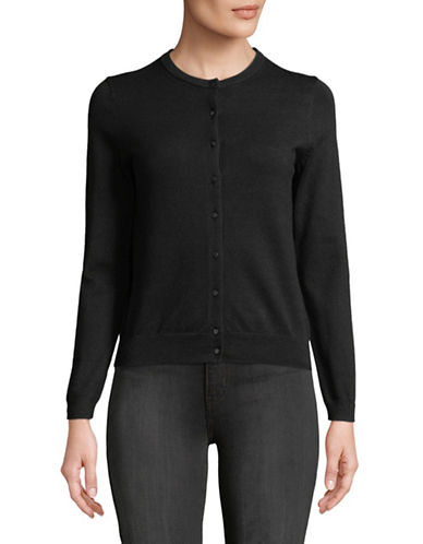 Lord & Taylor Petite Long-Sleeve Crew Neck Cardigan-BLACK-Petite Medium