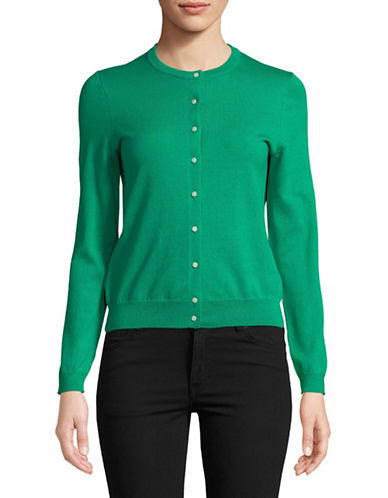 Lord & Taylor Petite Long-Sleeve Crew Neck Cardigan-GREEN-Petite Medium