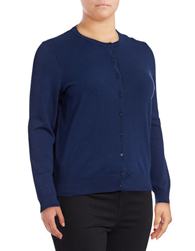 Lord & Taylor Plus Button Front Cardigan-BLUE-3X
