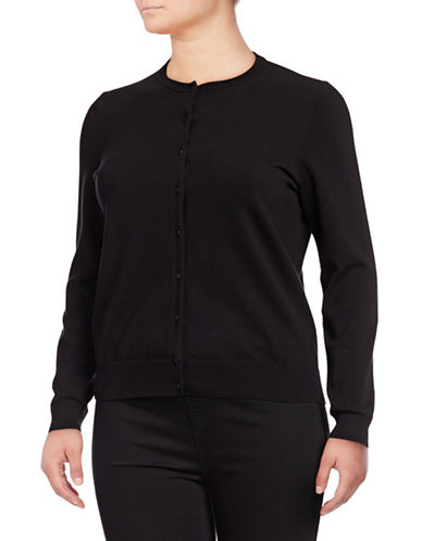 Lord & Taylor Plus Button Front Cardigan-BLACK-1X