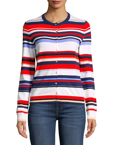 Lord & Taylor Petite Basic Crew Neck Striped Cardigan-ORANGE-Petite X-Large