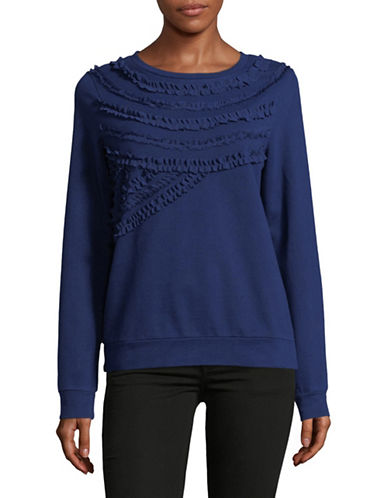 Lord & Taylor Ruffled Cotton Sweatshirt-NAVY NIGHT-X-Large
