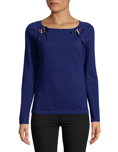 Lord & Taylor Raglan-Sleeve Top-NAVY-Medium