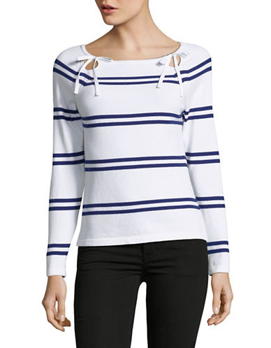 Lord & Taylor Petite Striped Raglan-Sleeve Top-WHITE-Petite Small