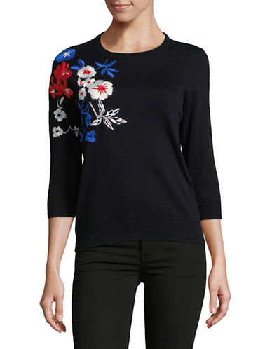 Lord & Taylor Plus Embroidered Cotton Sweater-BLACK-3X