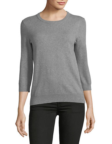 Lord & Taylor Three-Quarter Sleeve Sweater-GREY-X-Large