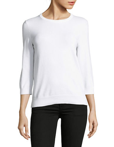 Lord & Taylor Three-Quarter Sleeve Sweater-WHITE-X-Small