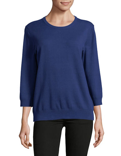 Lord & Taylor Three-Quarter Sleeve Sweater-BLUE-X-Small
