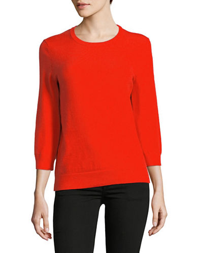 Lord & Taylor Three-Quarter Sleeve Sweater-ORANGE-X-Small