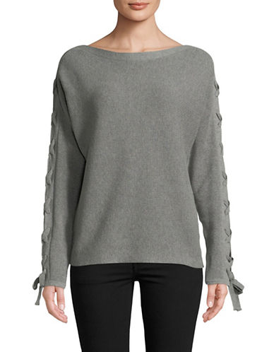 Lord & Taylor Lace-Up Dolman-Sleeve Cotton Pullover-GREY-Small