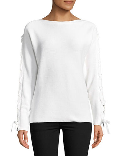 Lord & Taylor Lace-Up Dolman-Sleeve Cotton Pullover-WHITE-X-Small
