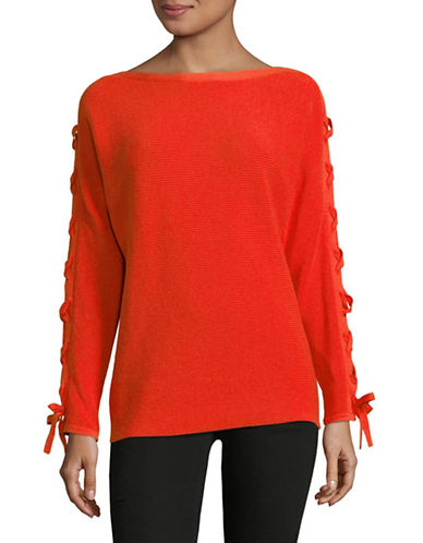 Lord & Taylor Lace-Up Dolman-Sleeve Cotton Pullover-ORANGE-Medium