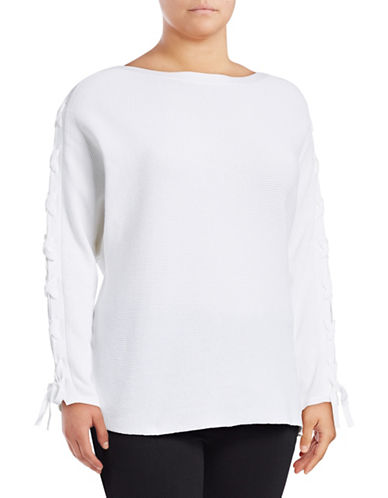 Lord & Taylor Plus Lace-Up Dolman-Sleeve Cotton Pullover-WHITE-2X