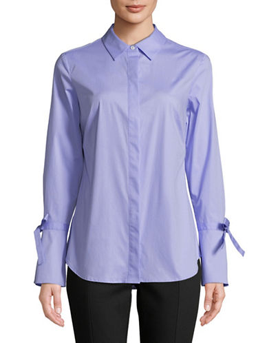 Lord & Taylor Kinsley Bell-Sleeve Button-Down Shirt-PASTEL BLUE-Small