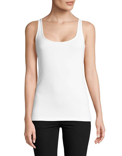 Lord & Taylor Iconic Fit Slimming Tank Top-WHITE-Large