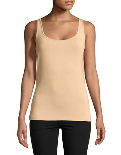 Lord & Taylor Iconic Fit Slimming Tank Top-TAN-X-Large