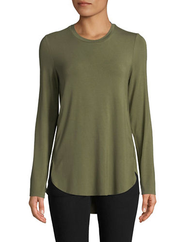 Lord & Taylor Petite Curved Hem Tunic-GREEN-Petite Small