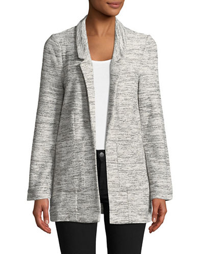 Lord & Taylor Textured Boyfriend Blazer-GREY-Small