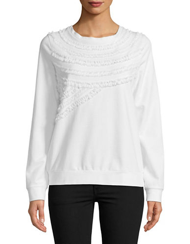Lord & Taylor Ruffled Cotton Sweatshirt-WHITE-Small
