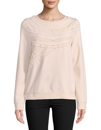 Lord & Taylor Ruffled Cotton Sweatshirt-PINK-Large