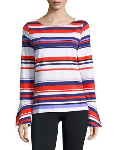 Lord & Taylor Striped Bell-Sleeve Cotton Top-ORANGE-Large