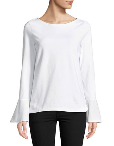 Lord & Taylor Boat Neck Bell-Sleeve Top-WHITE-Small