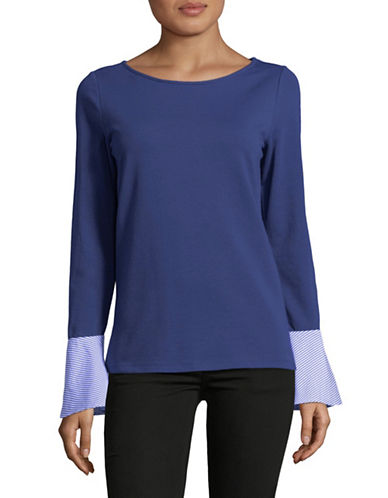 Lord & Taylor Cotton-Blend Contrast Cuff Top-NAVY-X-Large