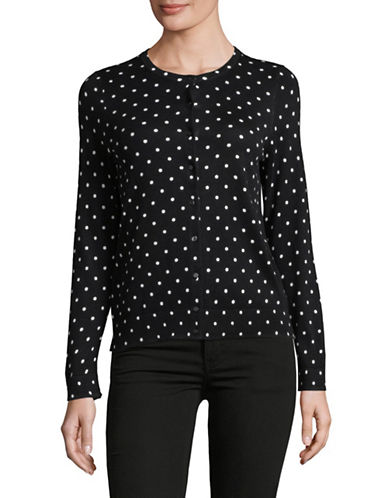 Lord & Taylor Polka Dot Cotton Cardigan-BLACK-Small