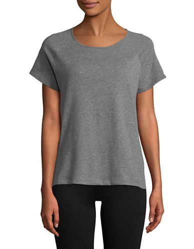 Lord & Taylor Short Sleeve Raglan Tee-DARK GREY-Large