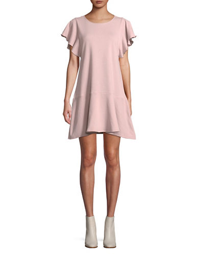 Lord & Taylor Short Sleeve Ruffle Dress-PEARL GREY-X-Large