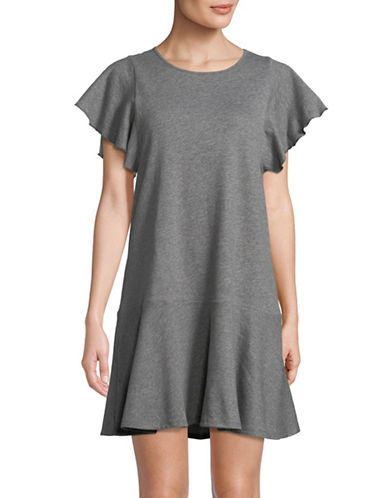 Lord & Taylor Short Sleeve Ruffle Dress-DARK GREY-Small