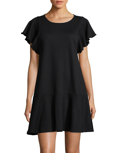 Lord & Taylor Plus Ruffled Roundneck Mini Dress-BLACK-2X