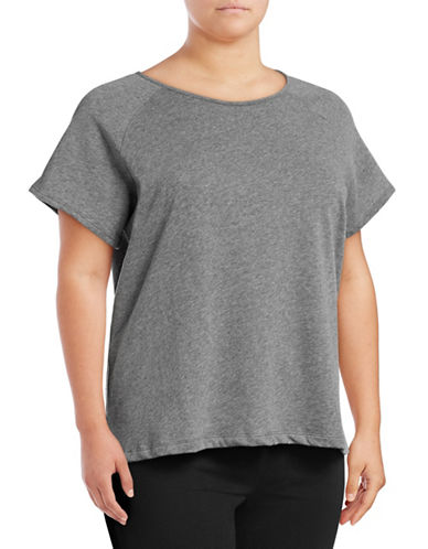 Lord & Taylor Plus Roundneck Raglan Tee-GREY-3X