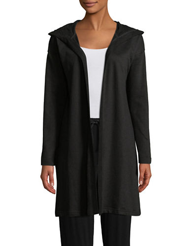 Lord & Taylor Hooded Open Front Cardigan-BLACK-Medium