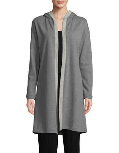 Lord & Taylor Hooded Open Front Cardigan-DARK GREY-X-Large
