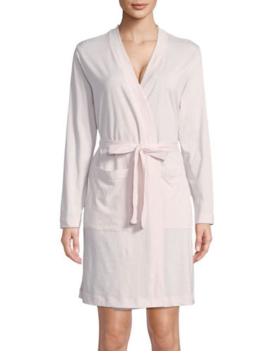 Lord & Taylor Self-Tie Cotton Robe-PINK CLOUD-Large