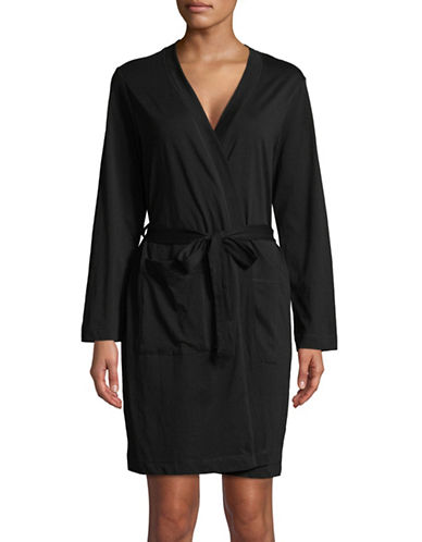 Lord & Taylor Self-Tie Cotton Robe-BLACK-Small